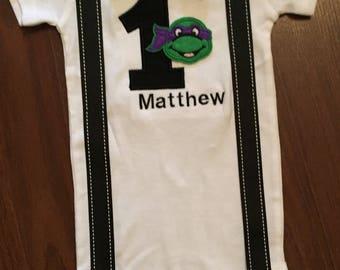 Ninja turtle inspired 1st birthday baby boy outfit, baby boy first birthday, turtle theme, ninja turtles party
