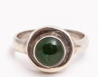 Sterling Silver Modernist Chrysophrase Cabochon Ring Size 7 1/2, Modernist Ring, Chrysophase Ring, Green Stone, Silver Ring, Hallmarked