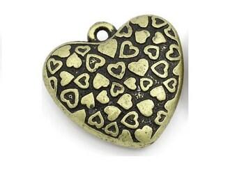 large 3D (R42) 3cm bronze heart pendant