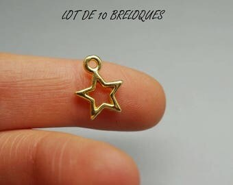 Set of 10 Star charms, gold gilt (A74)