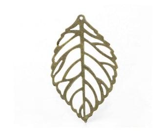 SET of 10 Bronze charms, large leaf filligrammes, tree, Nature (T28)