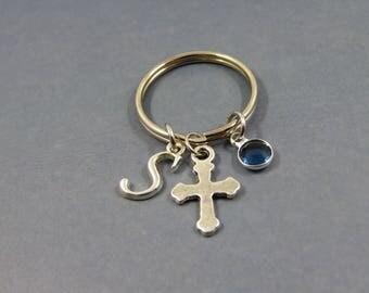 Cross cross keychain - cross keyring - cross gift - christian baptism gift - religious gift - personalised baptism - faith memorial keychain