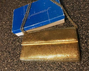 Vintage Whiting & Davis Fold Over Handbag Goldtone Mesh with Chain