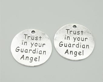 10pcs 22mm Antique Silver Trust In Your Guardian Angel Charm Pendants ML1449