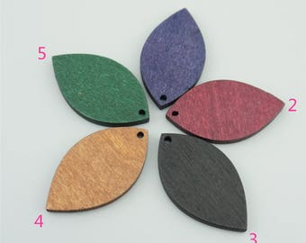10pcs  41mm Wood Leaf Pendants,Plant Pendants MP004