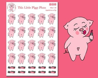 Lipstick on a Pig - Lipstick Planner Stickers - Makeup Planner Stickers - Lipstick Stickers - Makeup - Beauty Stickers - [Misc 1-19]