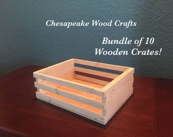 Set of 10 wooden crates, wood gift boxes, wood display box, unfinished box, Wedding boxes, wood storage box, gift box for wedding, wood box