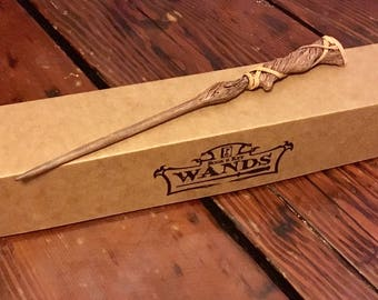 Hemlock Hand Carved Magic Wand Wizard / Witch