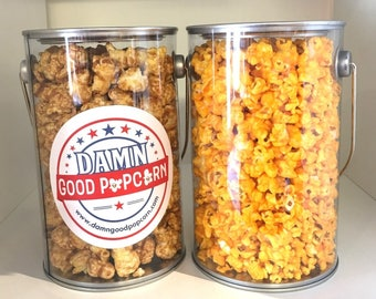 Gourmet Popcorn Gifts Paint Can One Cheddar Cheese One Caramel