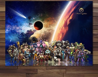 Overwatch All Heroes Orisa, DoomFist Included Poster - Canvas