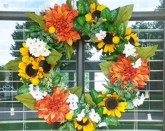 Sunflower Wreath with Dahlias