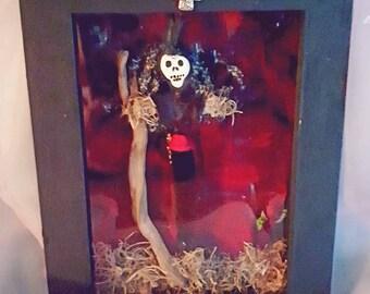 Voodoo Doll Art Shadow Box Handmade and one of a kind, death Loa, Voodoo Dolls, New Orleans inspired, Baron Samedi Art