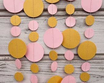 Pink and Gold paper garland, Pink baby shower, Gold baby shower, Pink gold garland, Pink party decor, Gold decorations, Paper garlands
