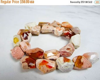 65% off sale--- Mexican fire opal faceted large nuggets/14x11-17x10mm/12 inches