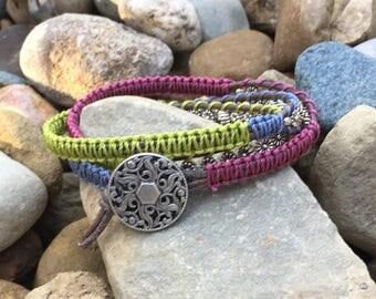 Brown Distressed Leather Wrap Bracelet