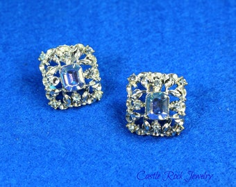 Coro Signed Silver Plated Vintage Clip-On Earrings. Blue/Aurora Borealis and Clear Rhinestones