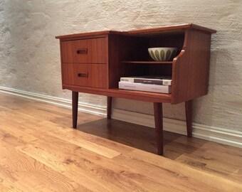 Vintage scandinavian mid century teak telephone table