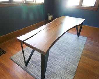 Walnut Slab Dining Table with Solid Brass Inlays - Custom Black Steel Base - Modern Design