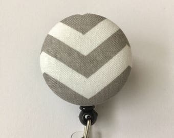 Retractable badge reel, gray and white chevron, great for nurses, nurse aides, medical staff