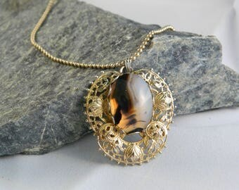 Black and White Striped Agate Pendant Necklace with Gold-plated Setting and Chain