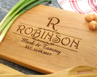 Personalized Cutting Board - Engraved Cutting Board, Custom Cutting Board, Housewarming Gift, Wedding Gift, Engagement, Anniversary (018)
