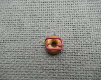 Grout donuts raspberry polymer clay charm