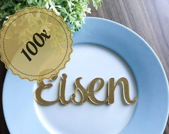 100x Personalised Laser Cut Gold / Silver Mirror Acrylic or Wooden Name Place cards Wedding, Christening, Baptism, Birthday