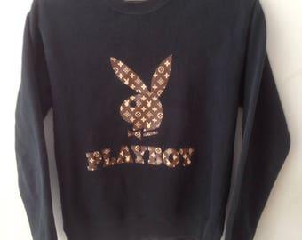 Extremely Rare!! Vintage Sweater Playboy Big Logo Motif Louis Vuitton Monogram Authentic NOT Fendi Balmain Saint Laurent Chanel