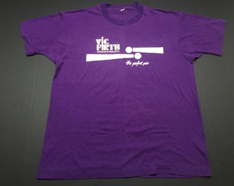 Vintage 80s Vic Firth drumsticks and mallets t-shirt mens M screen stars single stitch paper thin poly cotton drums rock metal punk