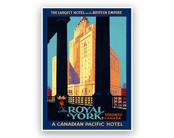 Royal York Hotel, Toronto Canada Travel Poster, Vintage Style Print, Canadian Tourism Art