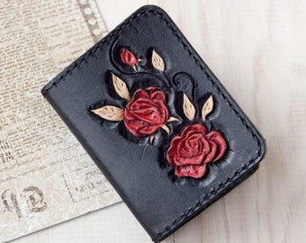 Business card holder leather - Womens credit card holder - Business card case - Leather card wallet women - Black thin wallet
