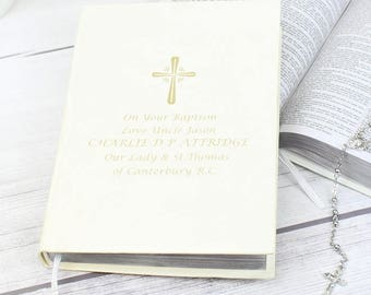 Personalised Gold Companion Holy Bible - Eco-friendly Gifts Ideas For On Your Christening Day Baptism First 1st Holy Communion Wedding