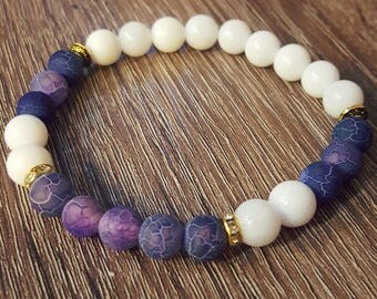 Weathered Agate Matte Beaded Bracelet With Natural Stone