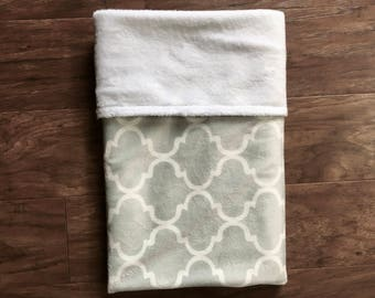 Minky Baby Blanket, Gray Minky Blanket, White Pattern Baby Blanket, Baby Shower Gift, Nursery Bedding, Play Mat, Baby Branch Boutique