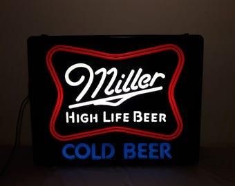 1980s Miller High Life Beer Light Up Sign