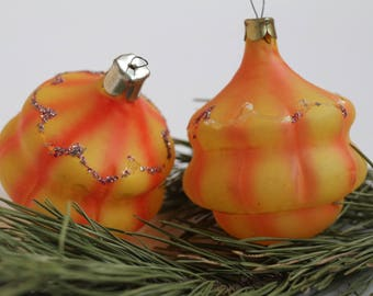 2 orange glass Vintage Christmas Tree Ornaments,Collectible USSR Toys,Glass Christmas decorations,Christmas ornaments 25