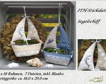 ITH embroidery file sailing ship