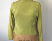 Vintage 40's Chartreuse Pintuck Detail Fitted Blouse, Womens Size 2/4 Small , Green Cocktail Pinup Evening Top Covered Buttons Up Back