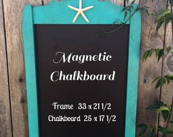 Beach Starfish Aqua Blue Vintage Framed Magnetic Chalkboard..Beach Wedding..Beach Decor