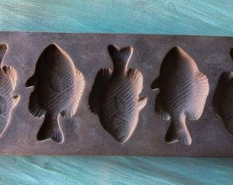 Vintage Lodge Cast Iron  Perch Cornbread Muffin Mold...Fish Muffin Pan
