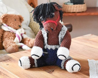 Crochet Horse Toy - Brown Horse with Shorts - Cute Nursery Toy
