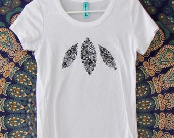Feathers Womens Tee in White - Vintage Style Graphic Tee - Screen Printed Designs with Eco-Friendly Ink - 100% Cotton