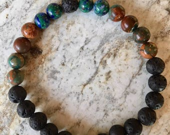 Essential Oil Diffuser Bracelet with Lava Beads, Agate and Azurite.