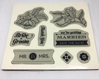 Bouquet Toss Rubber Stamp set / Scrapbooking / Card Making Supplies / Art and Crafts / Stampin Up / Wedding Stamp Set