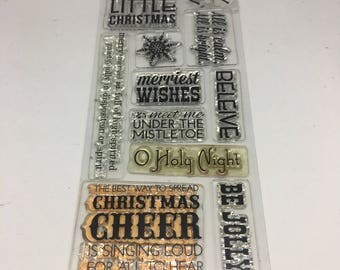Merry Christmas Wishing Words Stamp Set / Scrapbooking / Card Making Supplies / Holidays / Christmas /