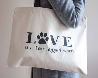 Large Dog Tote Bag | Love Dog Themed Bag | Canvas Tote Bag | Dog Lover Bag | Large Shopping Bag | Dog Tote Bag | Dog Lover |