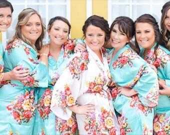 Bridesmaid Robes -Set of 6,7,8,9,10,11,12,13,14,15 Bridesmaid Robes - Floral Bridesmaid Robes -Bridal Robe- Wedding Robes -Kimono Robe