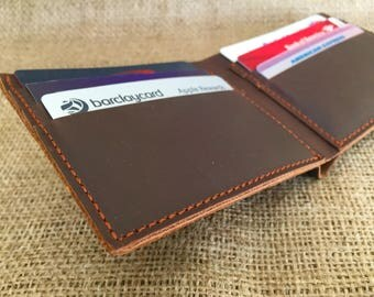 Slim Leather Wallet,Personalized Men's Leather Wallet - Custom Engraved