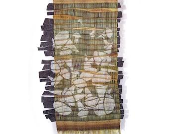 Accidental Field - Original Wall Art Repurposed Moss Felt Tapestry