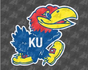 Kansas University Jayhawks Logo 4 Color Decal Sticker